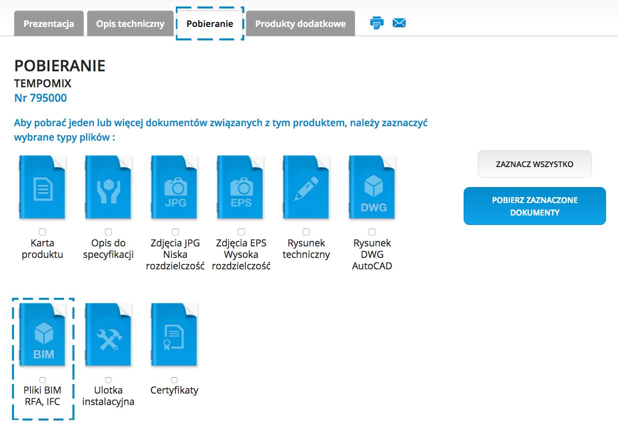 Lista produktów DELABIE z dostępnymi obiektami BIM: